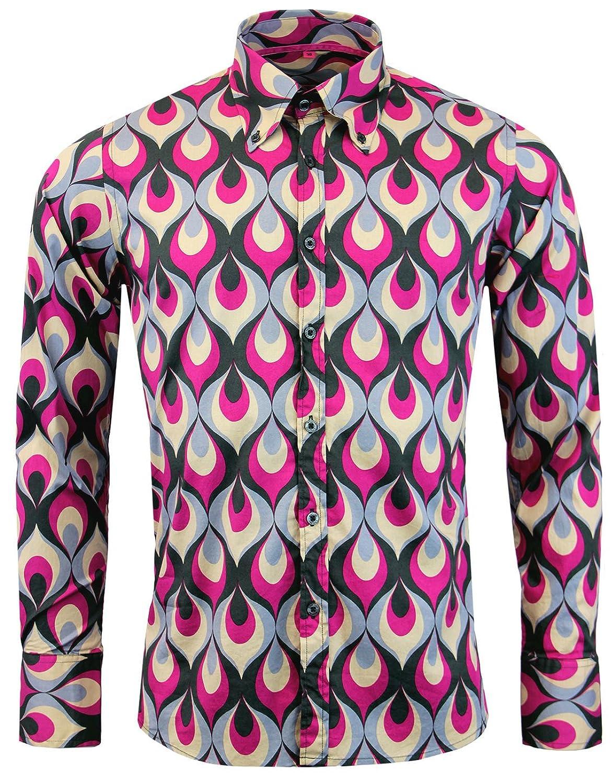 1960s Style Men's Clothing, 70s Men's Fashion Madcap England Trip Flames Retro Mod Op Art Shirt in Purple MC308 £34.99 AT vintagedancer.com