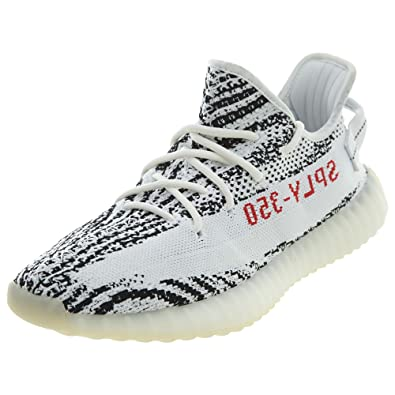 adidas Mens Yeezy Boost 350 V2 Zebra White Black-Red Fabric Size 4 dee3b88bd
