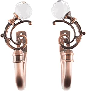Lavish Home Curtain Holdbacks with Mounting Hardware Decorative Drape Tieback Hooks with Crystal Ball Finials for Home Décor, Set of 2, Copper