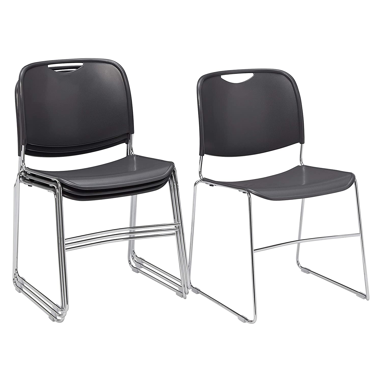4 Pack National Public Seating 8500 Series Ultra-Compact Plastic Stack Chair, Gunmetal
