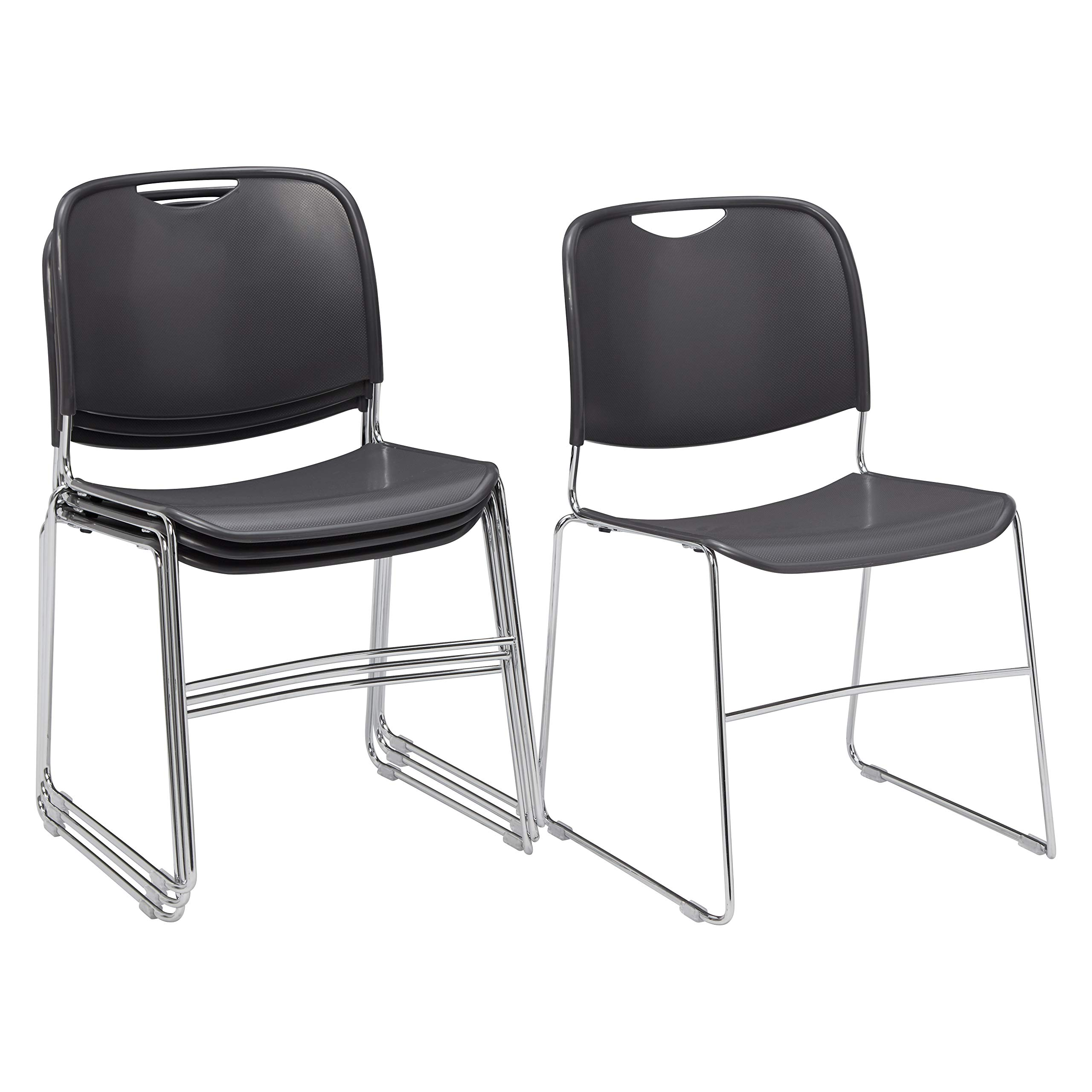 (4 Pack) National Public Seating 8500 Series Ultra-Compact Plastic Stack Chair, Gunmetal
