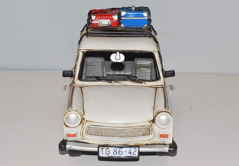 JS GartenDeko Blechauto Nostalgie Modellauto Oldtimer Marke Trabant Trabi mit Dachgep/äck Koffer aus Blech L 28 cm