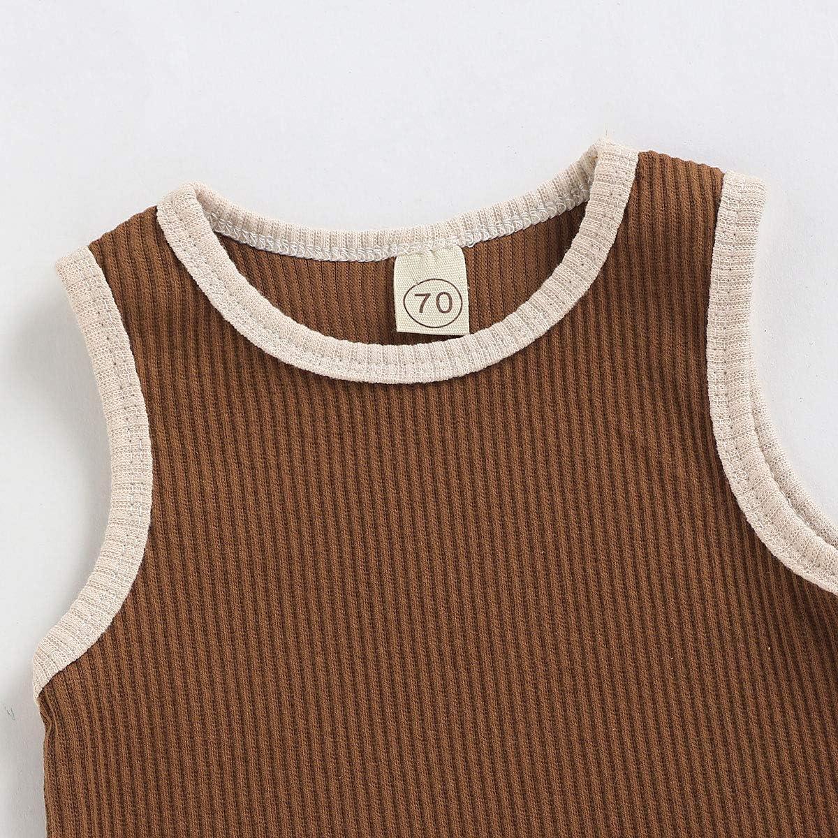 Aweyoo Newborn Baby Boy Girl Jumpsuit Cotton Solid Stripe Sleeveless Romper One-Piece Bodysuit Clothes Outfits 61UztygA38L