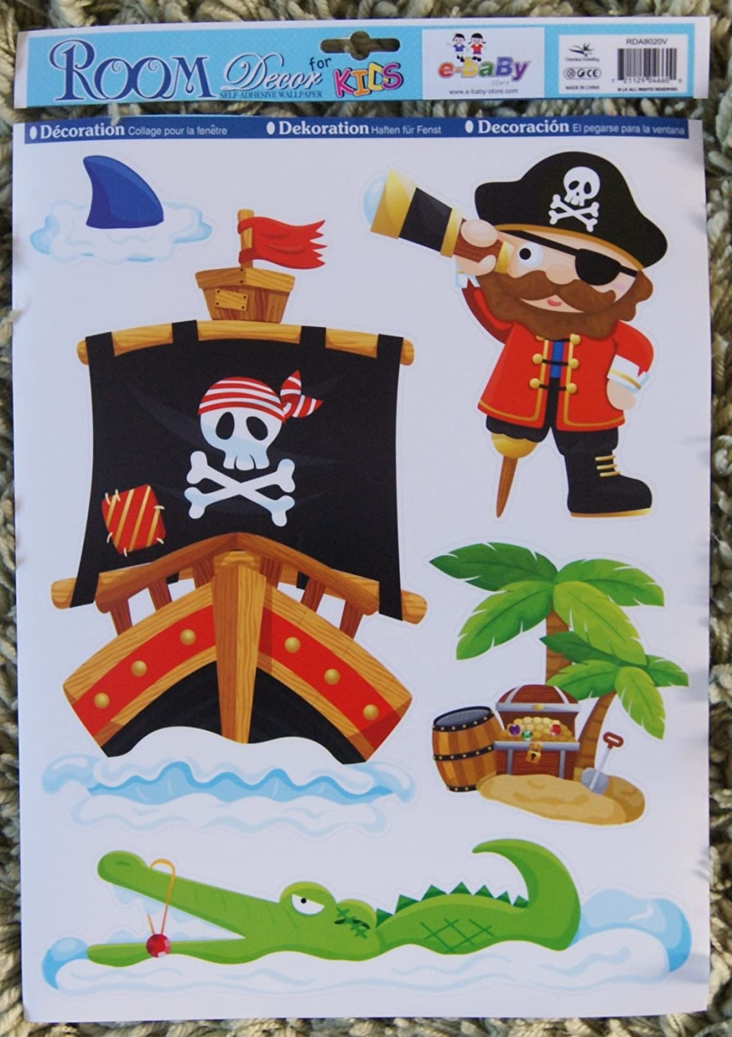 Childrens Boys Girls Kids Childs Baby Nursery Playroom Bedroom Pirate Ship Treasure Buccaneer Wall Furniture Stickers Decals Stickarounds Decor