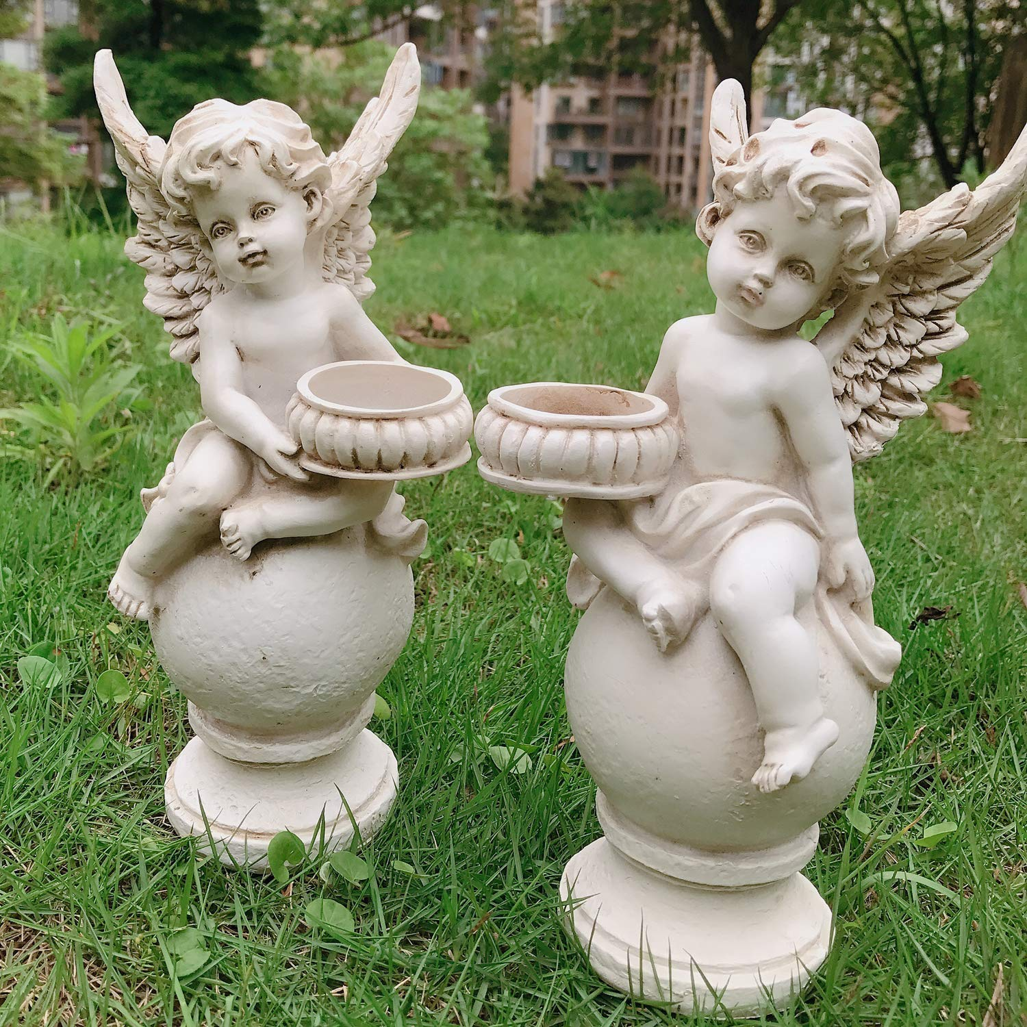 OwMell Set of 2 Cherubs Angels Statue Candle Holder, 9.5 Inch Weathered Antique Resin Angels Garden Statue Figurine for Indoor Outdoor Patio Garden Decorations
