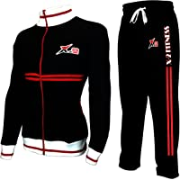 X-2 Mens Athletic Full Zip Fleece Activewear Tracksuit Jogging Jacket Sport Suit Sets Red Pipe Black L