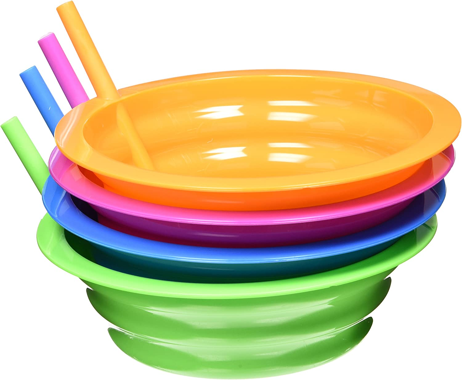| Arrow Plastic Sip-A-Bowl 22 oz, Assorted Colors - Pack of 4: Cereal Bowls