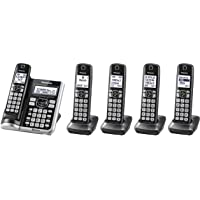 Panasonic Link2Cell Bluetooth Cordless Phone System with Voice Assistant, Call Blocking, Answering Machine and 5 Handsets (Silver)