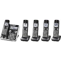 Panasonic link2cell bluetoothcordless teléfono con Assist de Voz y contestadora, 5 Auriculares, Plateado