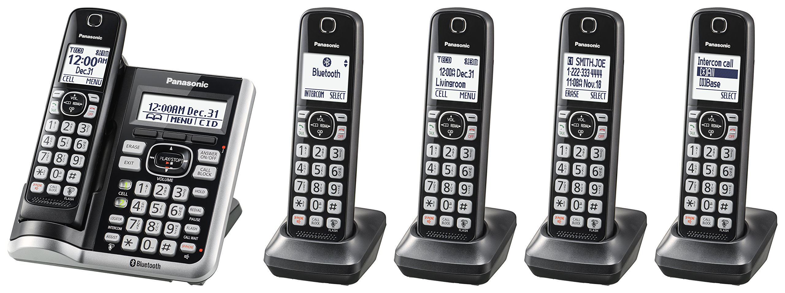 Panasonic KX-TGF575S Link2Cell BluetoothCordless Phone with Voice Assist and Answering Machine - 5 Handsets by Panasonic