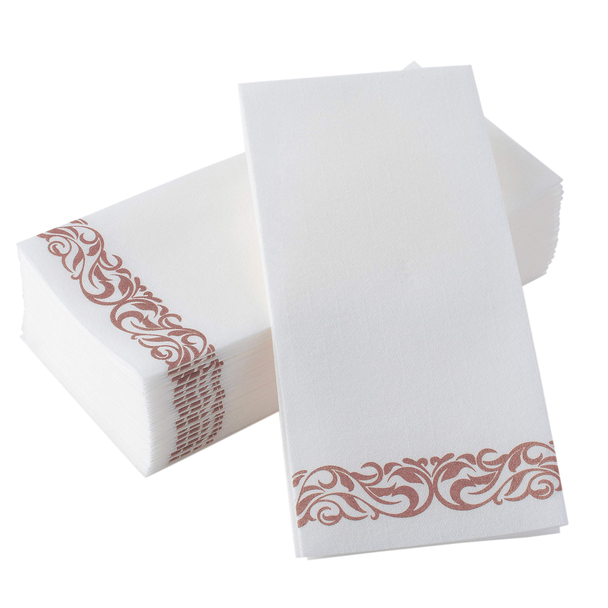 BloominGoods Disposable Hand Towels & Decorative Bathroom Napkins   Soft and Absorbent Linen-Feel Paper Guest Towels for Kitchen, Parties, Weddings, Dinners or Events   White and Rose Gold (100-Pack)