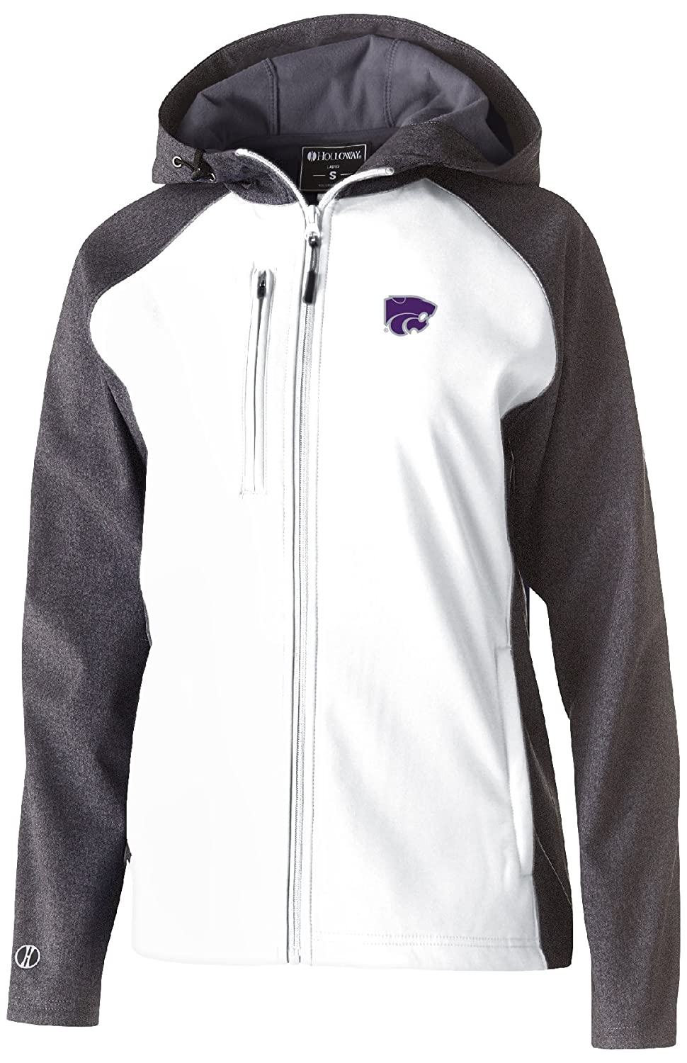 Carbon Print//White Large Ouray Sportswear NCAA Kansas State Wildcats Womens Raider Soft Shell Jacket