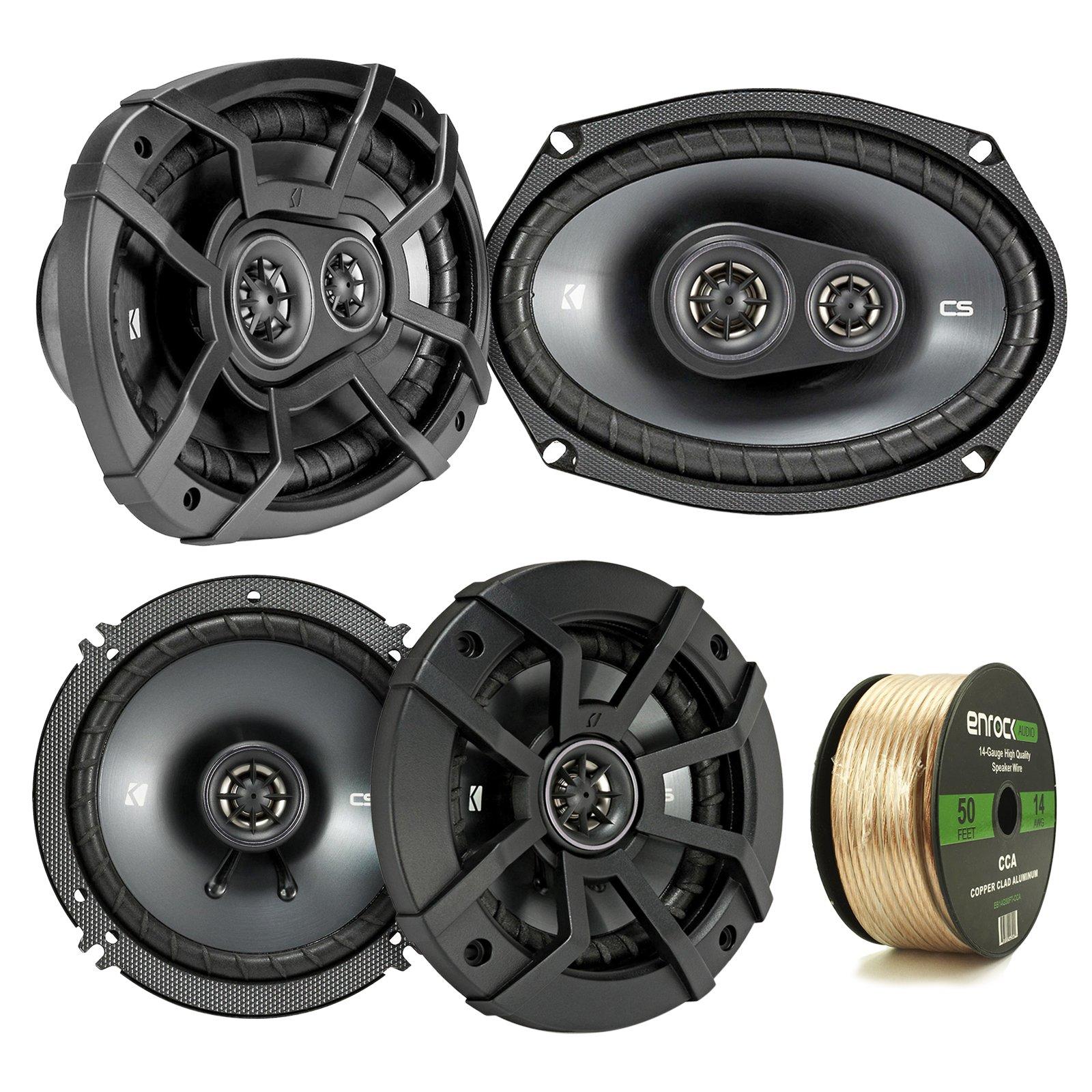 2 Pair Car Speaker Package Of 2x Kicker CSC654 600-Watt 6.5'' Inch 2-Way Black Coaxial Speakers + 2x CSC6934 900W 6x9'' CS Series 3-Way Speakers - Bundle Combo With Enrock 50 Foot 14 Gauge Speaker Wire