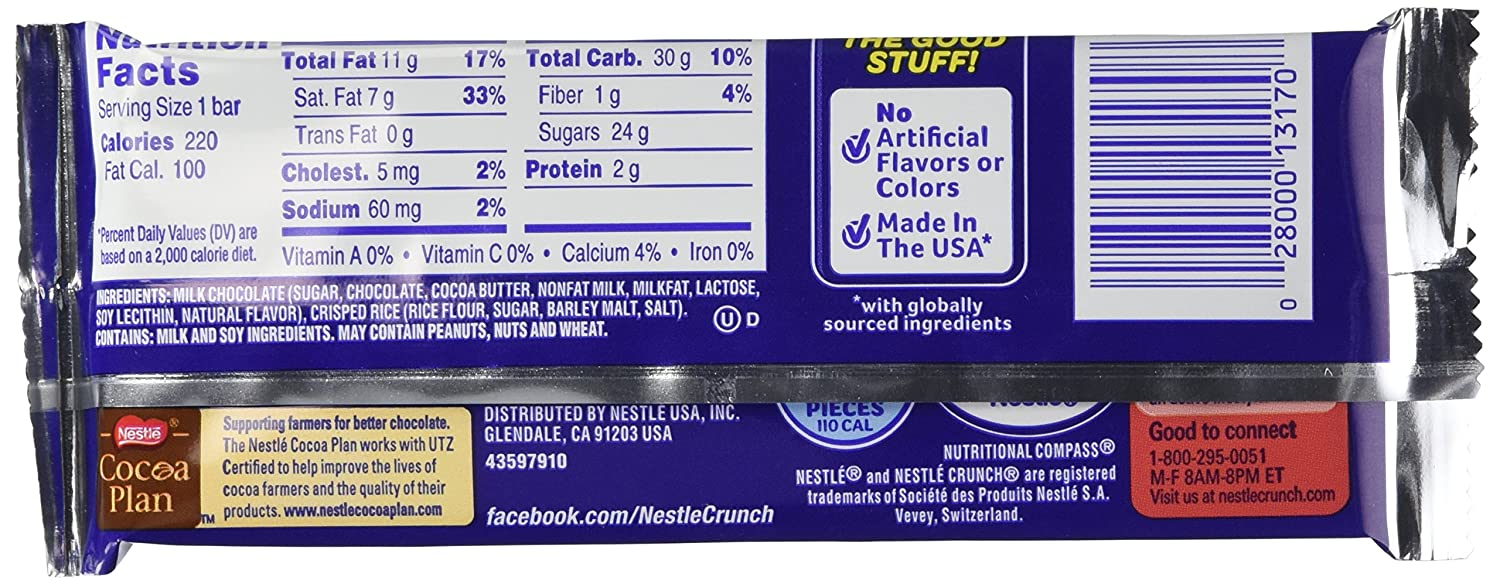 Amazon.com : Nestle Crunch Chocolate Single, Candy Bars (Pack of ...
