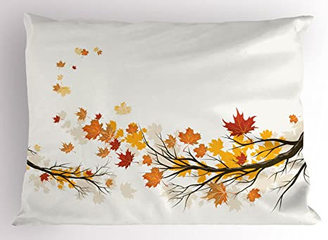 Amazon Com Lunarable Fall Pillow Sham Seasonal Tree Branches With Pale Colors September Foliage With Warm Leaves Print Decorative Standard Size Printed Pillowcase 26 X 20 Brown Orange Home Kitchen