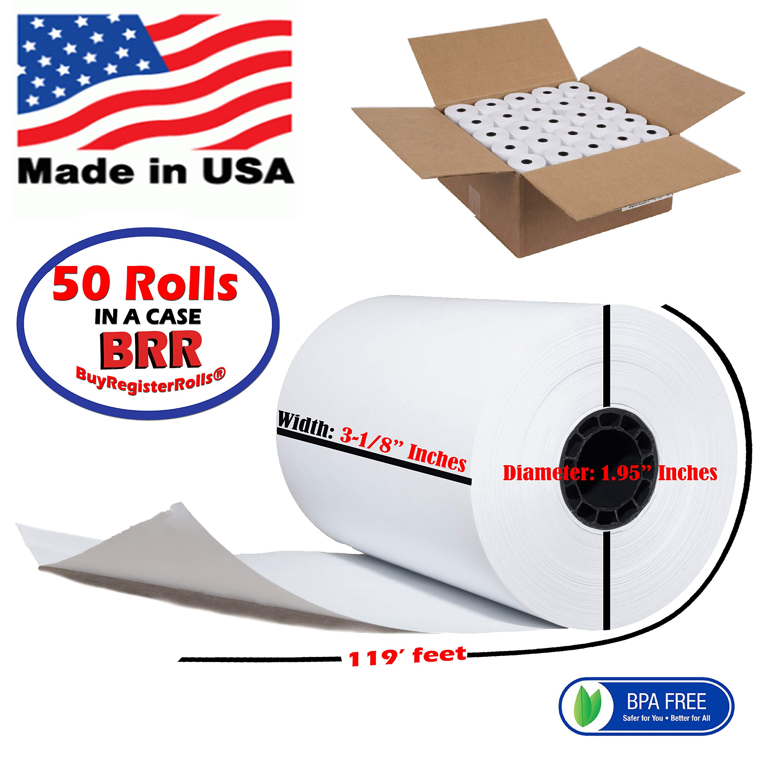 3 1/8 x 119 thermal paper roll 50 pack BPA Free Thermal Paper Rolls Made In USA from BuyRegisterRolls. by BuyRegisterRolls