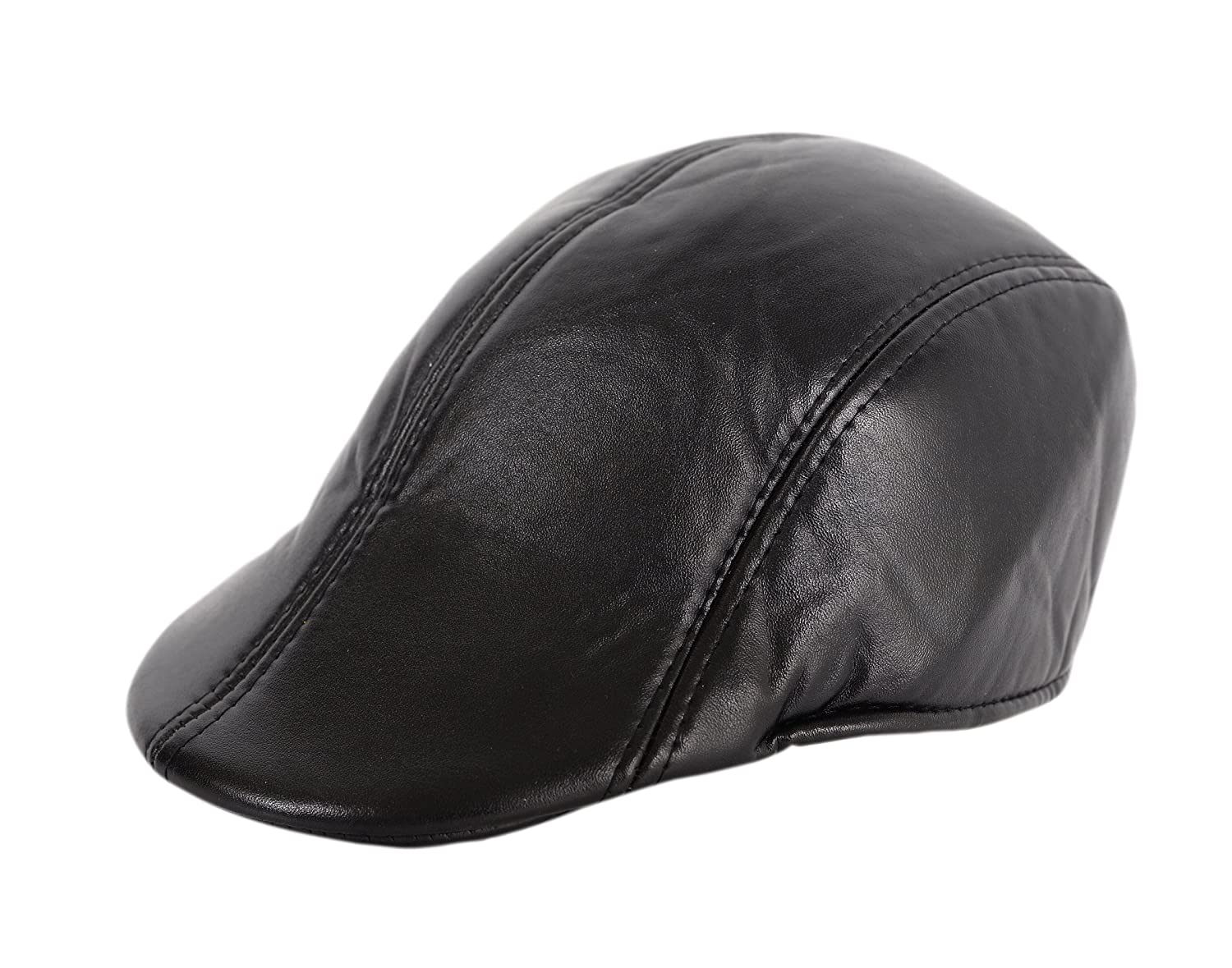 Krystle Men s Black Leather Golf Cap  Amazon.in  Clothing   Accessories 0784411a0c2