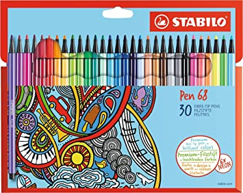 Premium Filzstift Stabilo Pen 68 30er Pack Mit 30 Verschiedenen Farben Bürobedarf Schreibwaren