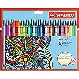 STABILO Pen 68 - Étui carton de 30 feutres pointe moyenne - Coloris assortis