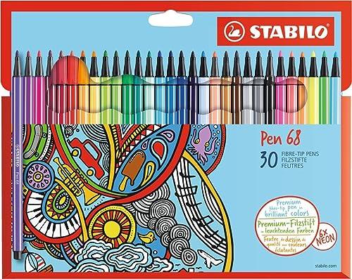 STABILO Pen 68 Premium Felt-Tip Pens - Assorted Colours (Wallet of 30)