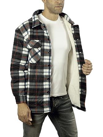 a27e066647ad KL Apparel Mens Heavy Warm Fleece Sherpa Faux Fur Lumberjack Shirt/Jacket ( Black,