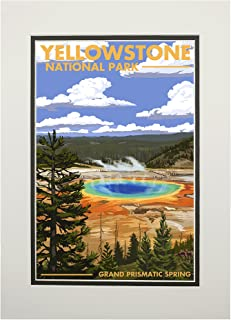 product image for Yellowstone National Park, Wyoming - Grand Prismatic Spring (11x14 Double-Matted Art Print, Wall Decor Ready to Frame)