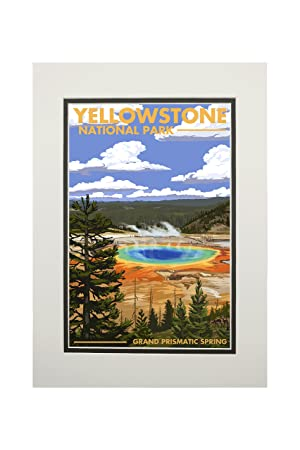 Yellowstone National Park, Wyoming - Grand Prismatic Spring (11x14  Double-Matted Art Print, Wall Decor Ready to Frame)