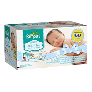 Amazon.com: Pampers New Mom Welcome Pack Swaddlers Sensitive Diapers ...