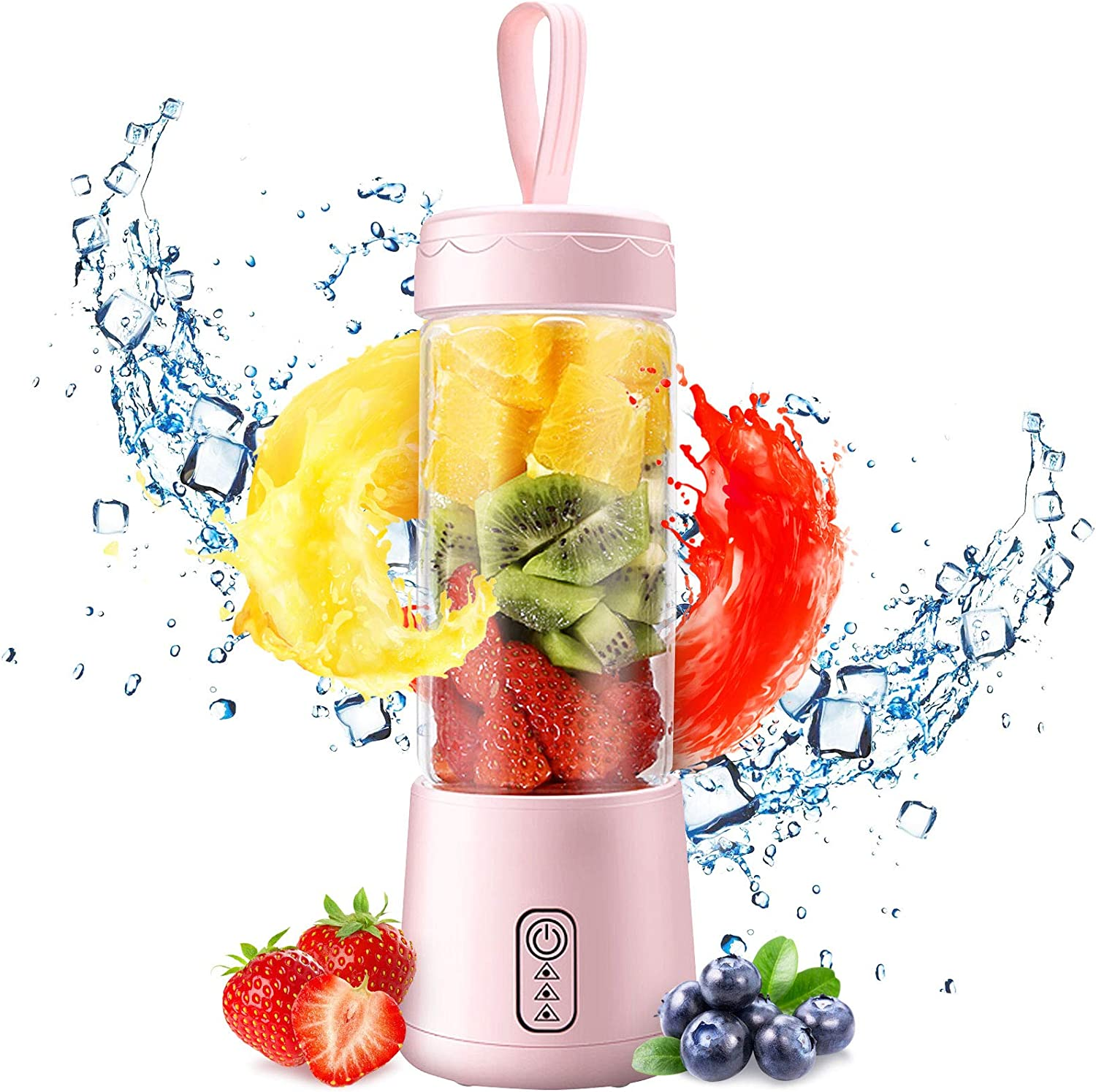 Mini Blender, Portable Blenders for Kitchen with USB Rechargeable, Personal Size Blender 3D Six Blades, 380ML Glass Blender Cup, Single Serve Blender for Juice/Ice Smoothies/Shakes/Fruit Vegetable