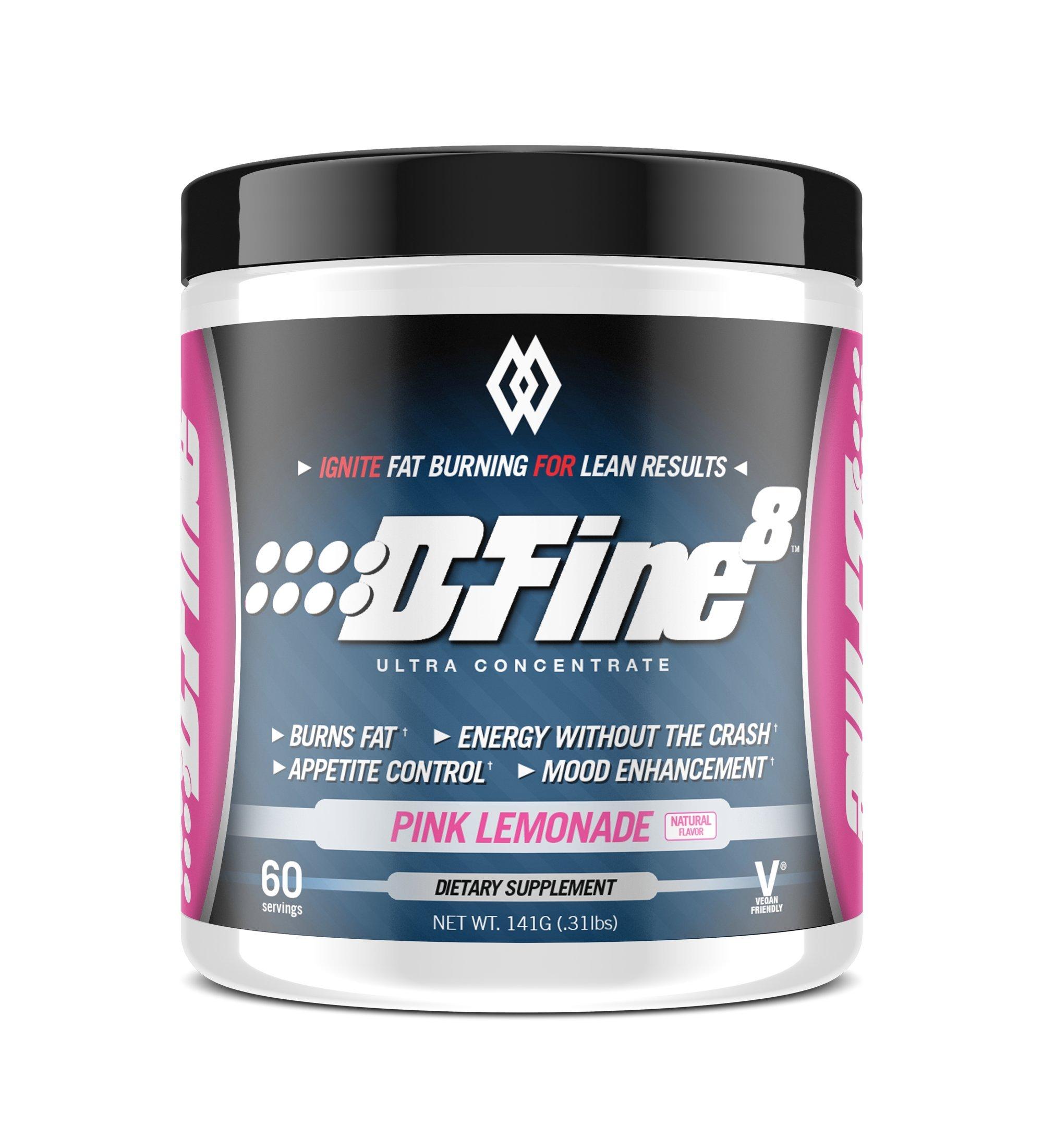 Musclewerks D-Fine8 - Fat Burner Thermogenic, Pre Workout Powder, Appetite Suppressant, Energy & Weight Loss Supplement for Men & Women - 60 Servings Vegan Friendly (Pink Lemonade)