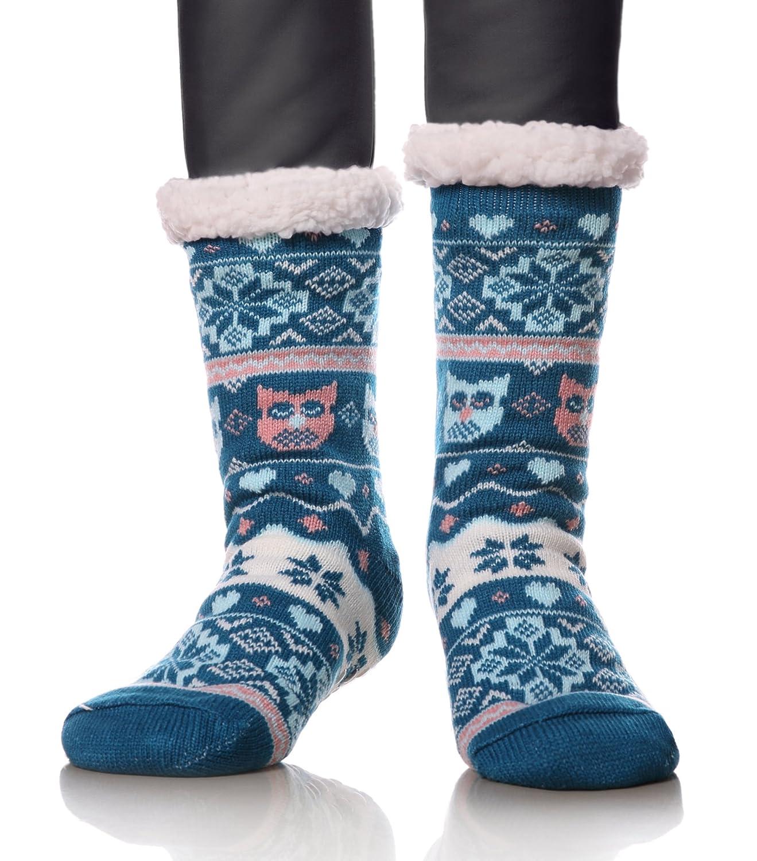 Dosoni Women's Owl Snowflake Fleece Lining Knit Slipper Socks Christmas Knee Highs Stockings