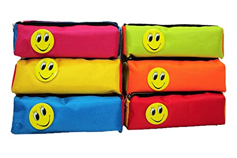 SR GIFTS Multicolor Smiley Pen Pencil Pouch For Kids Birthday Return Gift Set Of 12