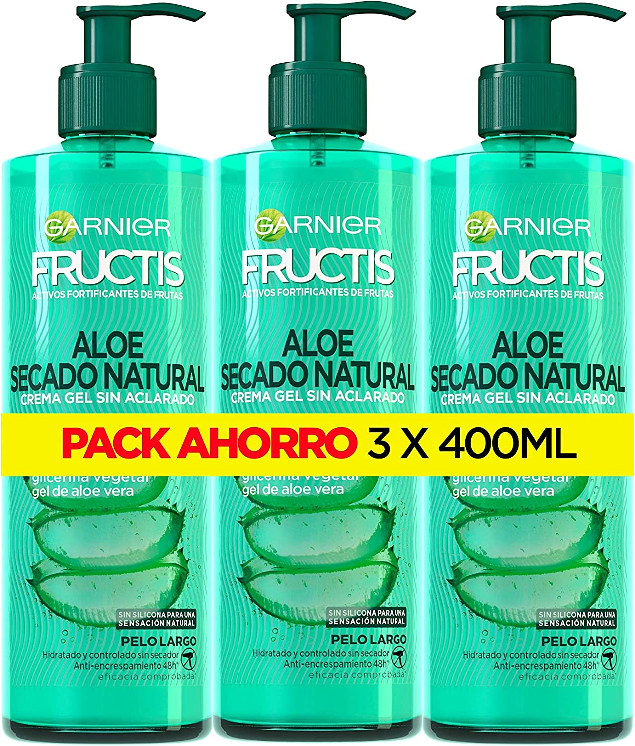 Garnier Fructis Aloe Secado al Aire Tratamiento Capilar Pelo Normal, Largo, pack de 3 (3 x 400 ml)