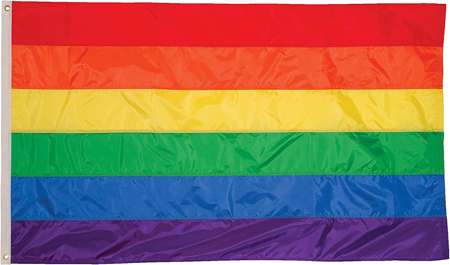 In the Breeze 3 Foot by 5 Foot Rainbow Flag - Rainbow Grommet Flag with Sewn Stripes