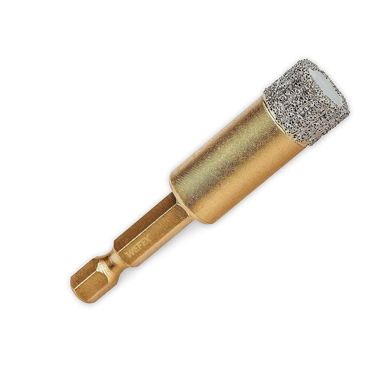 WEFEX Diamant-Fliesenbohrkrone Vakuum-Profi 14 mm Sechskant Feinsteinzeug Kacheln Keramik Naturstein Granitfliesen
