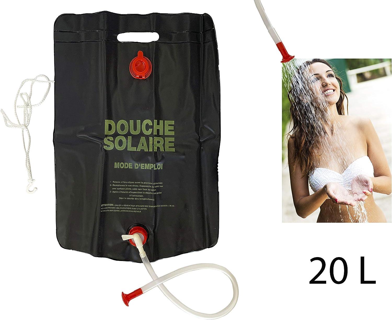 para Acampar al Aire Libre para Senderismo y Camping Bolsa de Ducha de PVC con calefacci/ón Solar 20 L Ligera y port/átil