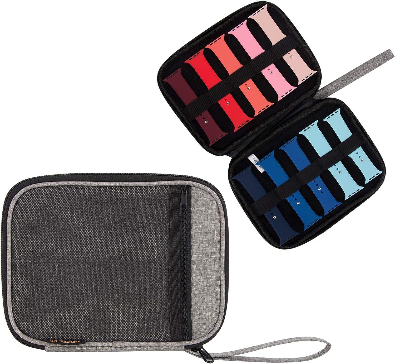 Watch Band Storage Organizer Holds 10 Watch Bands, Travel Watch Straps Carrying Case, Watch Band Storage Bag, (Light Grey)