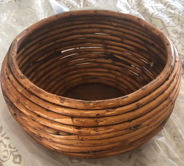 Channel Gift Basket/Decor 10-Inch Wood Rattan Basket, Rustic