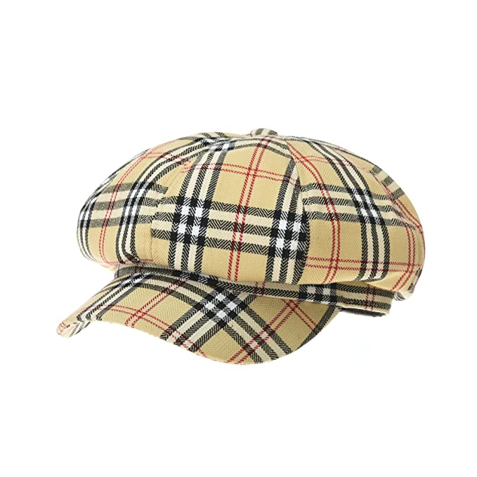 WITHMOONS Coppola Cappello Irish Gatsby Wool Beret Cap Tartarn Plaid Check  Bakerboy Visor Hat KR3942 ( 252c691a14af