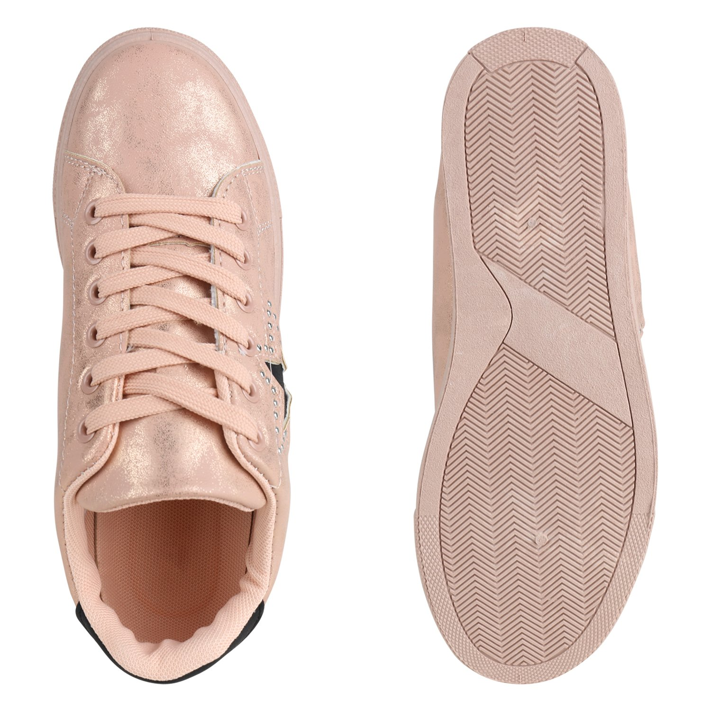 Stiefelparadies Damen Rose Sneaker Low Glitzer Flandell Rose Damen Gold a02945