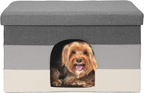 Furhaven Pet Dog Bed – Collapsible Popup Multipurpose Living Room Ottoman Footstool Felt Pet House Cave Cubby for Cats Small Dogs – Available in Multiple Colors Styles