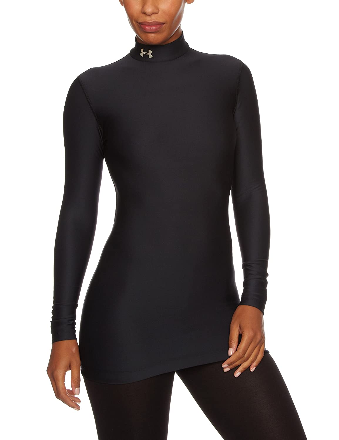Under Armour Women's ColdGear Compression Mock, Black/Silver, Large Under Armour Apparel 1221816