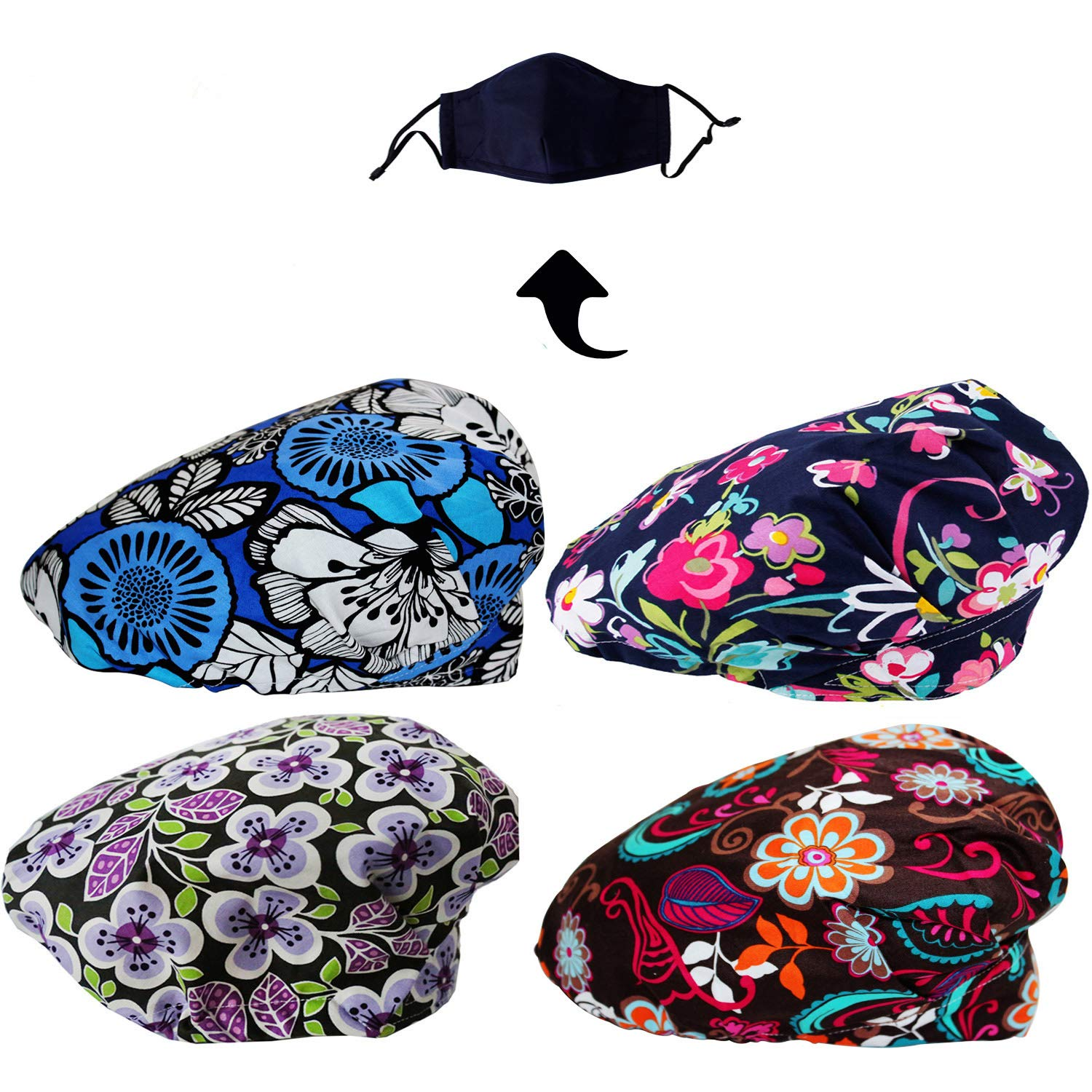 JoyRing 4 Pack Adjustable Surgical Scrub Cap Medical Doctor Bouffant Hats with Sweatband and Free Cotton Mask by JoyRing