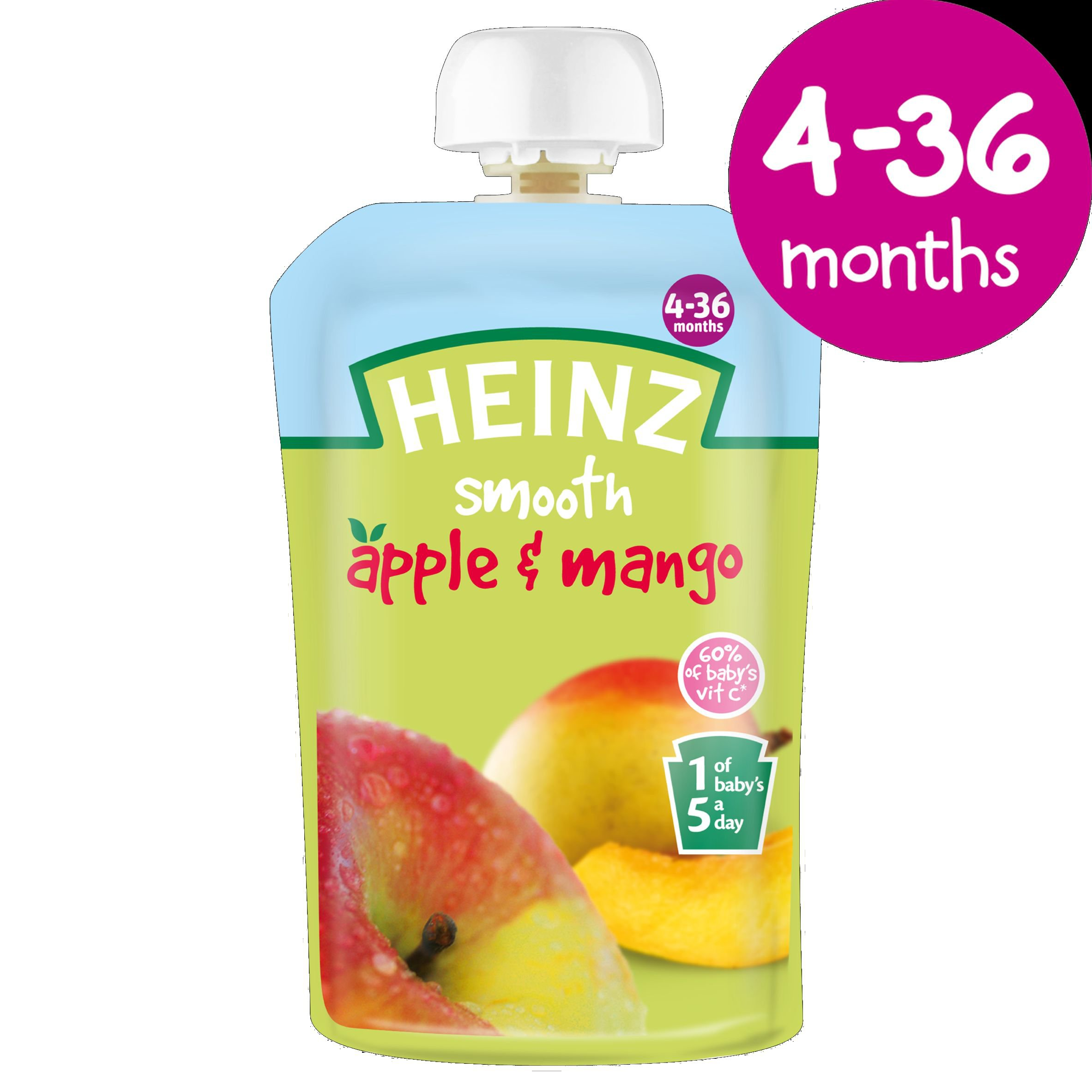 Heinz Apple and Mango Fruit Pouch 4-36 Months 100 g (Pack of 6) by Heinz (Image #2)