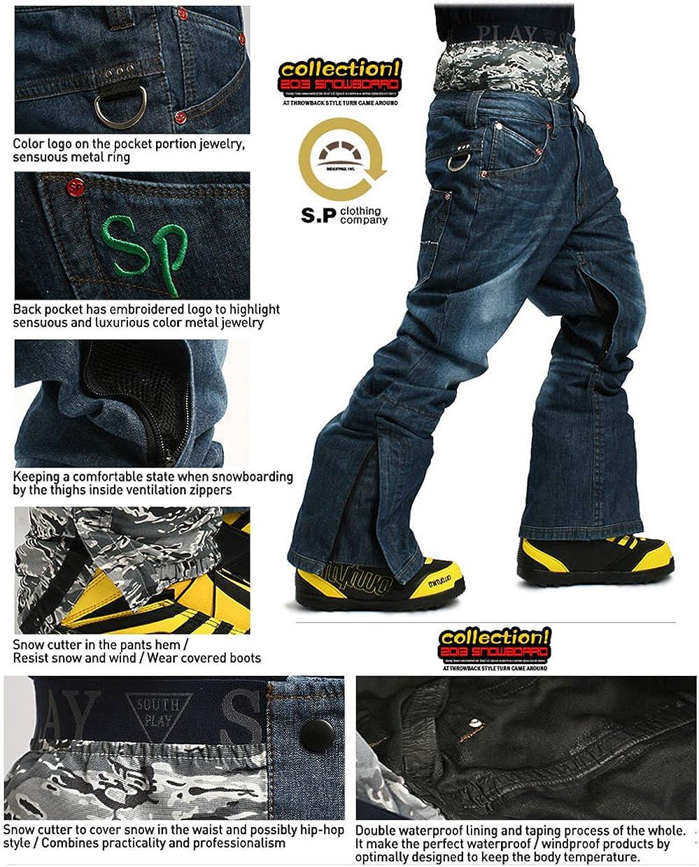 South Play Ski Snowboard Wear Suit Parka Jacket+Pants Trousers Set Khaki+Jeans