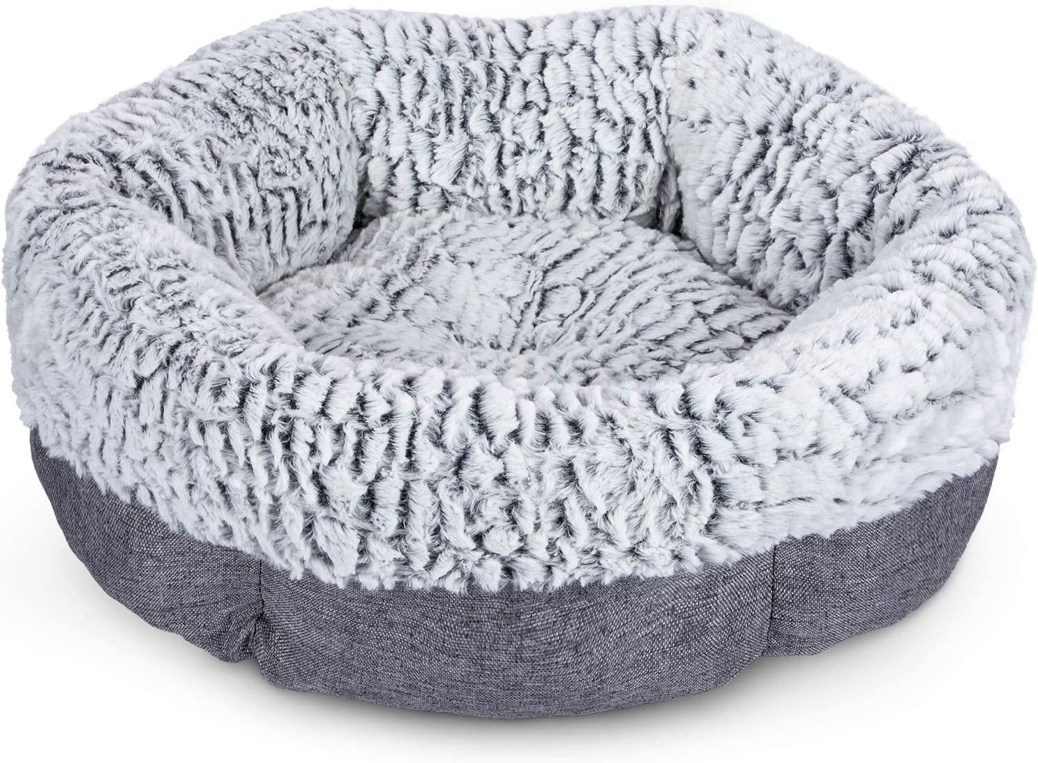 FURTIME Cat Bed & Small Dog Bed Soft Durable Pet Beds for Indoor Cats Detachable Machine Washable Calming Dog Bed Round Plush Cuddler Bed for Kitten and Puppy with Anti-Slip Bottom