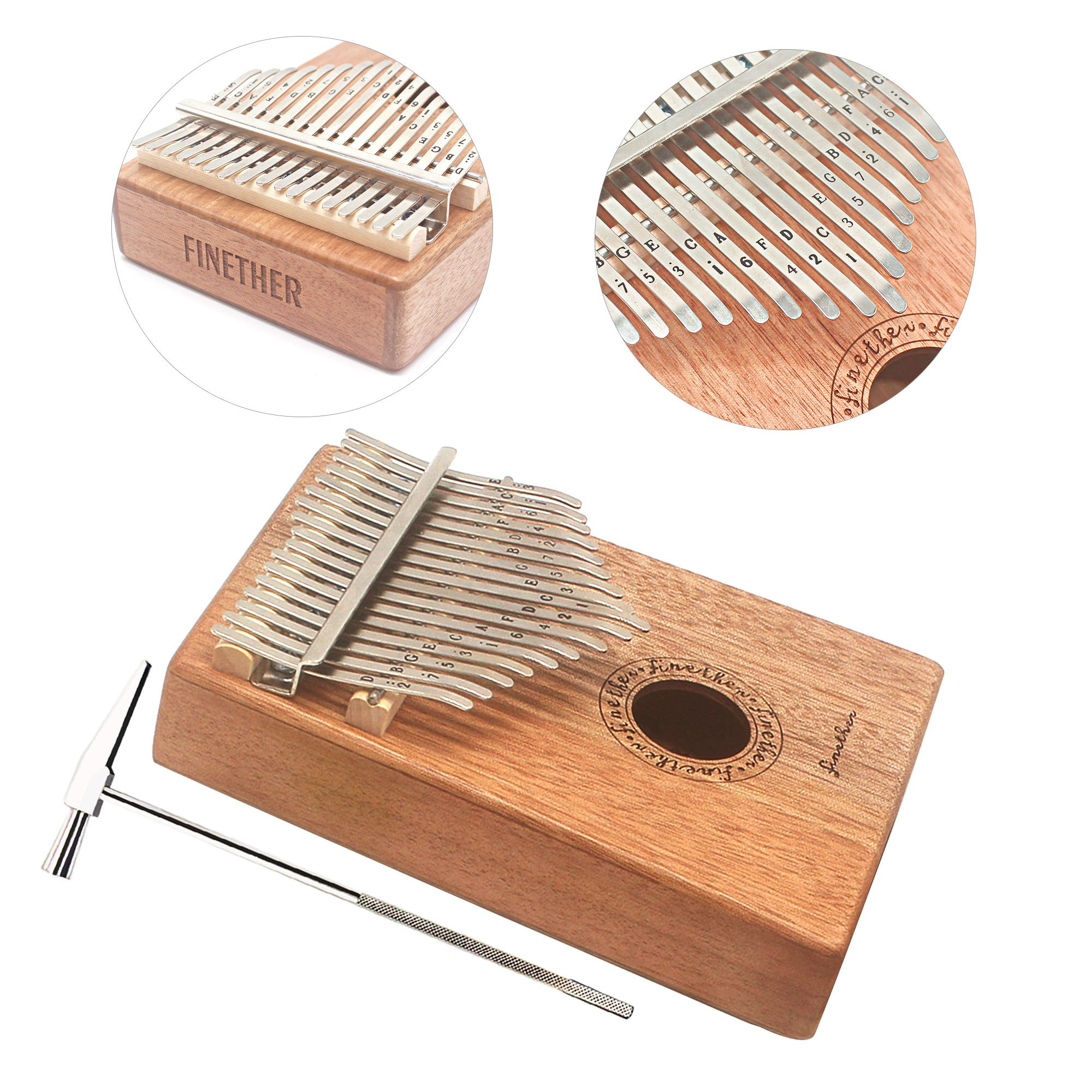 17 Keys Mahogany Kalimba Thumb Piano Wood Mbira Sanza Finger Percussion Pocket Keyboard w/Calibrating Tune Hammer for Beginners and Children (Mahogany) by AHongem (Image #7)
