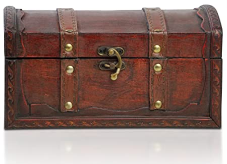 Brynnberg   Pirate Treasure Chest Storage Box   Durable Wood U0026 Metal  Construction   Unique,