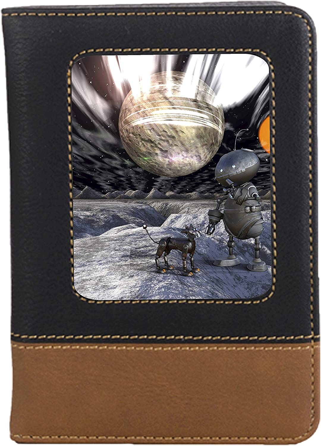 Robot /& Dog in Space Leatherette Passport Wallet Style Case Cover For Travel