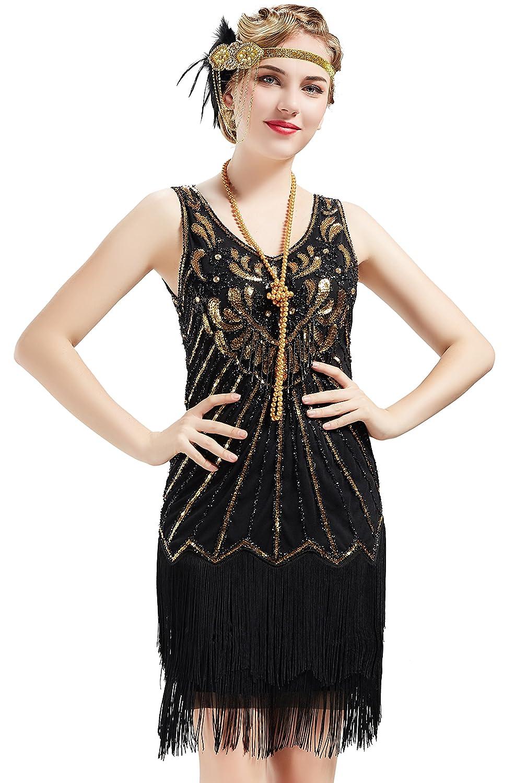 BABEYOND 1920s Flapper Dress Fringed Gatsby Dress V Neck for Women